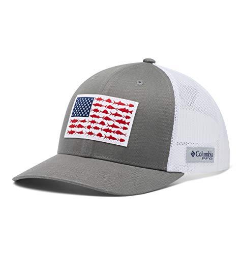 Columbia Men's PFG Fish Flag Snapback Ball Cap, Breathable, Adjustable , Titanium/White