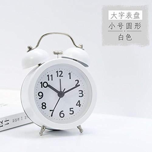 Mzbbn Despertador Despertador silencioso Junto a la Cama para Estudiantes, Dormitorio para niños y niñas, Despertador Luminoso, 3 Pulgadas, Blanco (E) Despertador de Viaje Despertador analógico