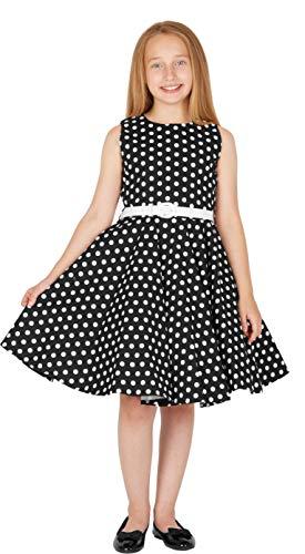 BlackButterfly Kinder 'Audrey' Vintage Polka-Dots Kleid im 50er-J-Stil (Schwarz, 9-10 J) - 6