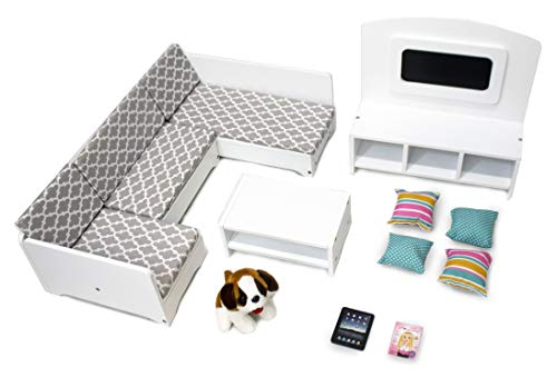 Playtime by Eimmie Furniture Set - Sectional Sofa with Doll Accessories - Furniture Set for 18 Inch Dolls