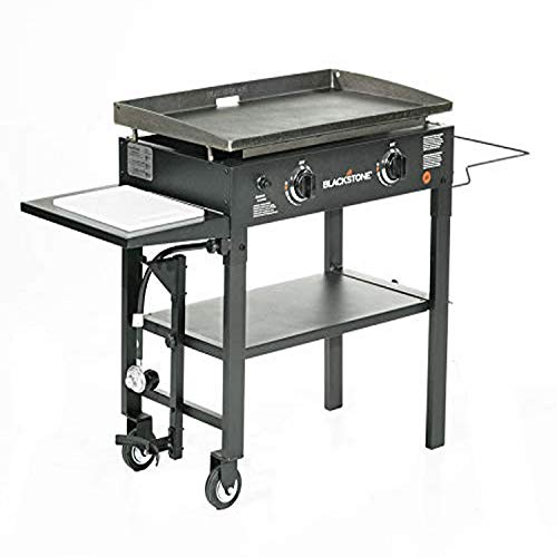 "Blackstone 1853 Flat Top Gas Grill 2 Burner Propane Fuelled Rear Grease Management System 28"" Outdoor Griddle Station for Camping with Built in Cutting Board and Garbage Holder, 28 Inch, Black"