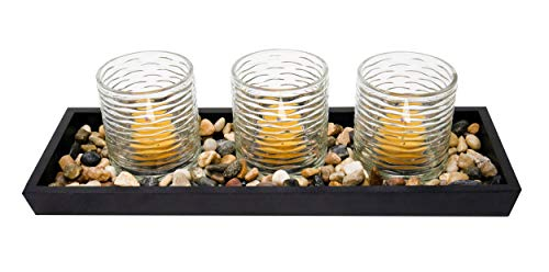 Euneek Designs Candle Holder Centerpiece Set - Bathroom, Living Room, or Dining Room Table Decorations - Home Decor Gift for Coffee Tables, Shelf or Mantel - Tray, Votives, Beeswax Tealights, Stones