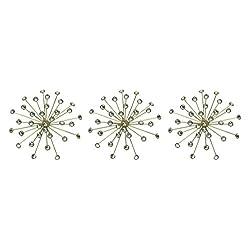 Elico Ltd. Jeweled Metal Bursting Star Wall Mounted Hanging Sculpture Set of 3 Burst