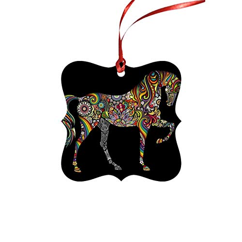 InterestPrint Squar Shape Christmas Tree Ornaments for Christmas Party a Horse and a Rainbow