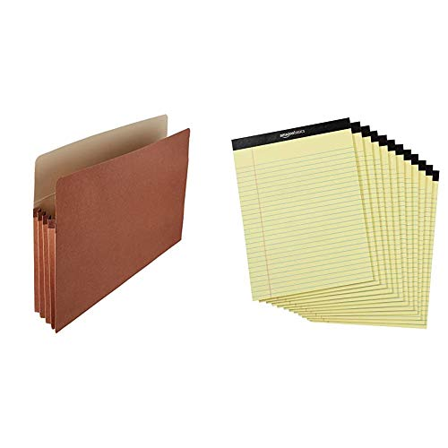 Amazon Basics Expanding Accordian Organizer File Folders - Letter Size, 25-Pack & AmazonBasics Legal/Wide Ruled 8-1/2 by 11-3/4 Legal Pad - Canary (50 Sheet Paper Pads, 12 Pack)