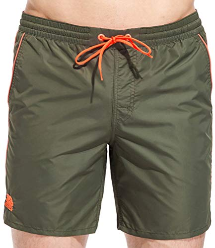 Boardshort elastico in vita profili fluo verde militare, L MainApps