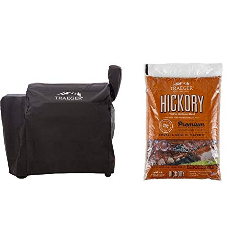 Traeger BAC380 34 Series Full Length Grill Cover & PEL319 Hickory 100% All-Natural Hardwood Grill Pellets