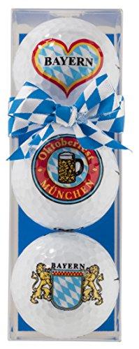 Golfball-Set: 3 Golfbälle mit bayrischen Motiven - Golfball-Set Bayern/Oktoberfest - Golfbälle