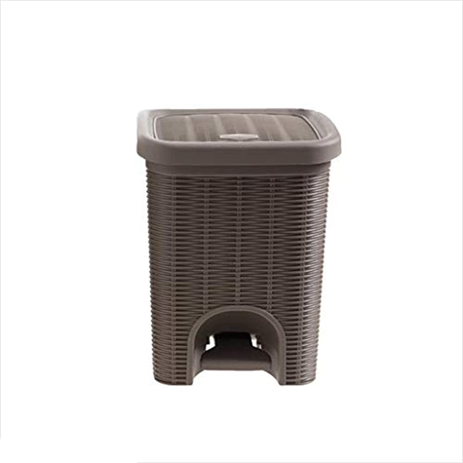 YJLGRYF Trash Can Imitation Rattan Pedal Trash Can Pedal With Lid Trash Can Small Paper Basket Home Creative Trash Can, Living Room Hotel Kitchen And Toilet Trash Can, Large Office Double Barrel Trash