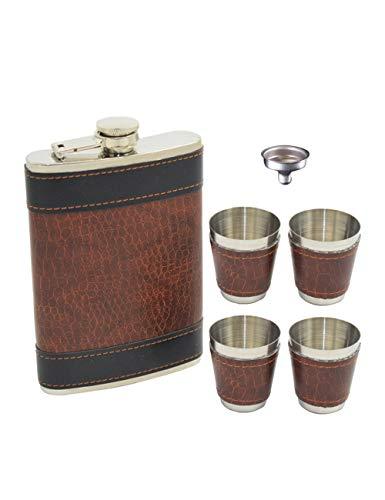 SPDYCESS PU Leder 9 oz Flachmann Setzt Box - Wodka Tequila Flasche mit 4 Tassen Sets Tragbar Geschenk zum Männer