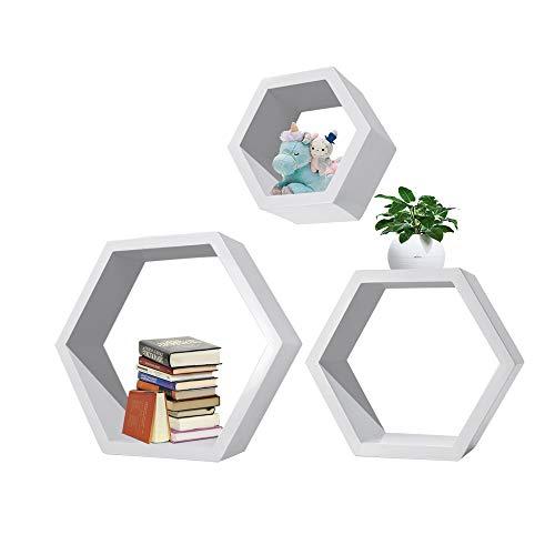 Sechseckige Regale, 3 Stück, Wandmontage, schwebende Regale aus Holz, Aufbewahrungsregal für Zuhause, Schlafzimmer, Kinderzimmer, Dekoration – Weiß