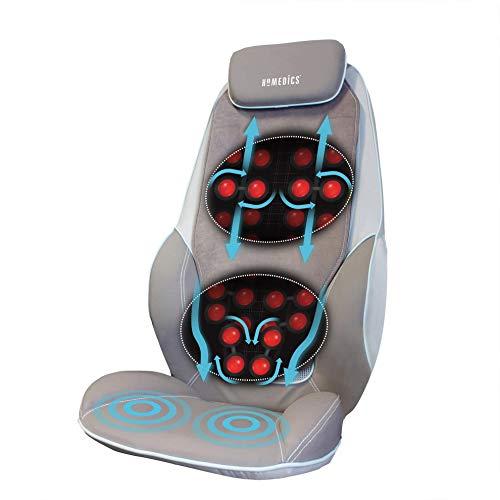 HoMedics ShiatsuMax Sedile Elettrico Massaggiante - Massaggiatore Shiatsu per Schiena, Spalle e Gambe con Funzione Calore e Massaggio con Vibrazione, Telecomando e Intensità Regolabile