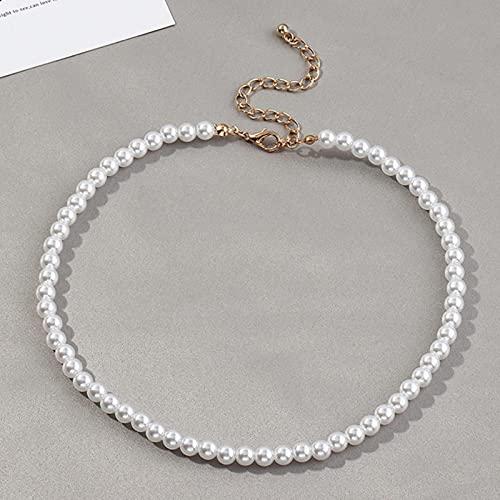 Collar de Gargantilla de Cadena de Perlas Simple de Estilo Vintage de 6 MM para Mujer, Collar con Colgante de Concha de Amor para Boda, joyería