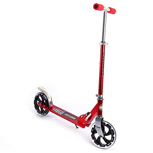 LRXG Scooter para Adultos, Rueda Grande Plegable, Altura Ajustable, Suspensión, Scooter, Suave, Rápido, Plegable, Portátil, Scooter Rojo