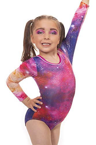 Velocity Dancewear Gymnastics Leotards for Girls Long Sleeve/Sleeveless Nebula Color Sparkle Leotard Dancing Ballet Gymnastics Athletic (7-8 Years, Size 28)