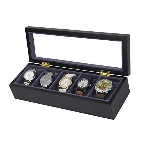 MxZas Soporte para relojes de madera con pintura en aerosol, para 5 relojes, caja de almacenamiento de joyas, organizador (color: blanco, tamaño: un tamaño)