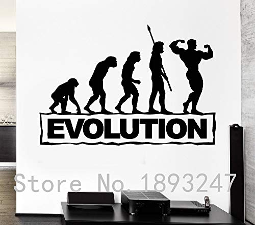 guijiumai Turnhalle Sport Mann Bodybuilding Fitness Evolution Removble Vinyl Wandaufkleber Fitness Center Wandtattoo Removeable Schlafzimmer 93X149CM