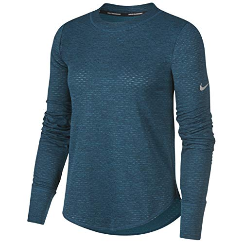 Nike Sphere Element Top Crew Midnight Turquoise Black Heather Reflective Silver XL