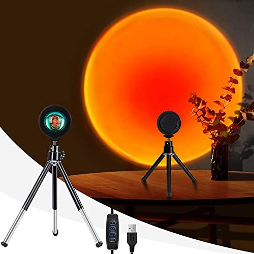 Sunset Projection Lamp LED Regulable, WOANWAY Portátil Lámpara de Proyección de Puesta de Sol, Rotación 360° Luz de Puesta de sol para la Decoración de la Sala de Estar del Dormitorio (Rojo Atardecer)