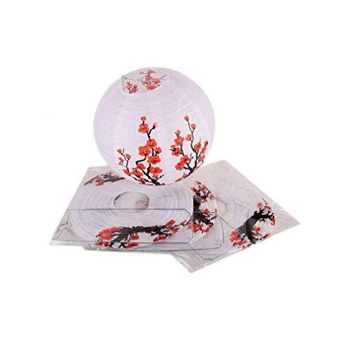 lachineuse Lot DE 4 LAMPIONS Boule Chinois - Motif Traditionnel Fleurs de Prunier