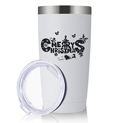 Christmas Gifts for Women and Men, Stainless Steel 20oz Tumbler | Personalized Cups Double Walled Insulated Coffee Cup for Travel, Work, Gym, Fitness | Hot and Cold Drink Use (White)