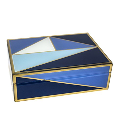 Sagebrook Home 12333-01 Glass & Wood Box W/Geometric Design, Blue MDF/Glass, 9.5 x 7 x 3.25 Inches