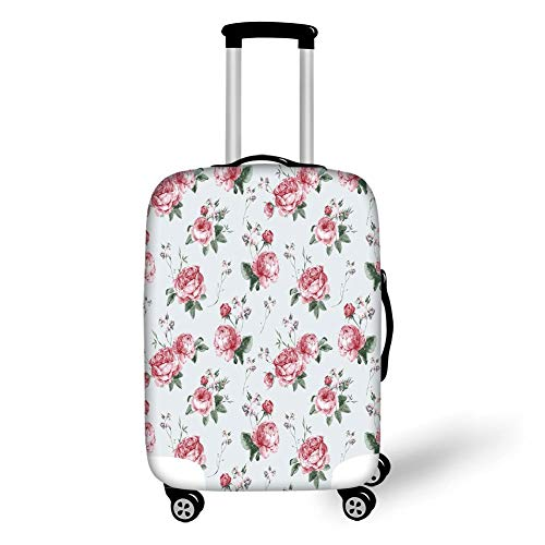 Travel Luggage Cover Suitcase Protector,Rose,Blooming English Rose Watercolor Painting Style Garden Shabby Chic Wild Flowers,Reseda Green Pink,for Travel M