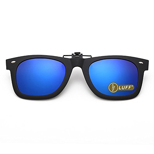 Polarization Clip-On Occhiali da sole Unisex-Elegante e confortevole clip Flip up occhiali da sole miope per Outdoor/guida/pesca (blue)