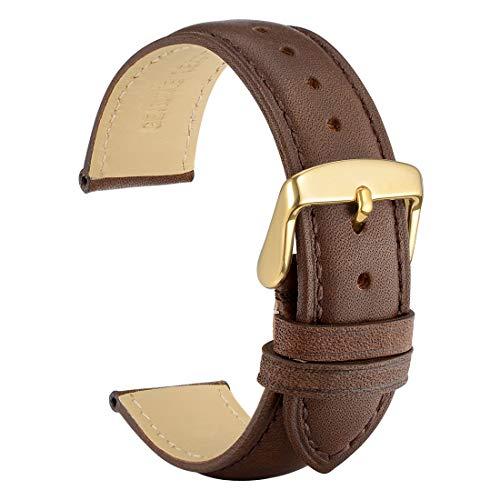 WOCCI 18mm Cinturino in Pelle Retrò con Fibbia in Oro per Orologio, Cinturini di Ricambio, Marrone Scuro