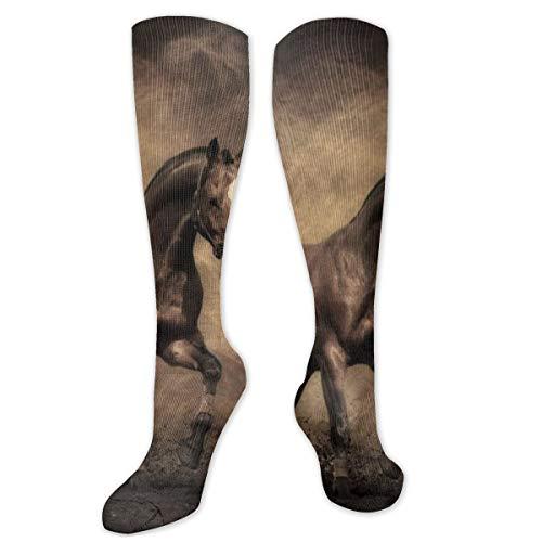 Polyester Katoen Over Knie Been Hoge Sokken Retro Unisex Dij Kousen Cosplay Boot Lange Tube Sokken voor Sport Gym Yoga-Paard Volledige Zoek