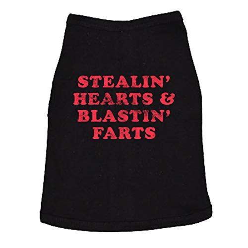 Stealin Hearts and Blastin Farts Dog Shirt Funny Pet Puppy Lover Hilarious Pass Gas Shirt (Black) - L