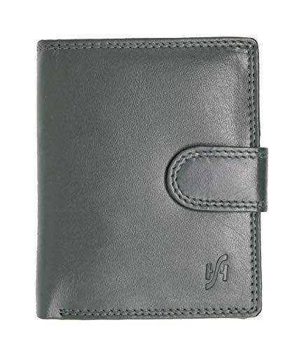 STARHIDE Uomo morbida portafoglio in vera pelle con zip tasca portamonete & finestra Carta d'identità, scatola regalo # 1080 (Nero) Black