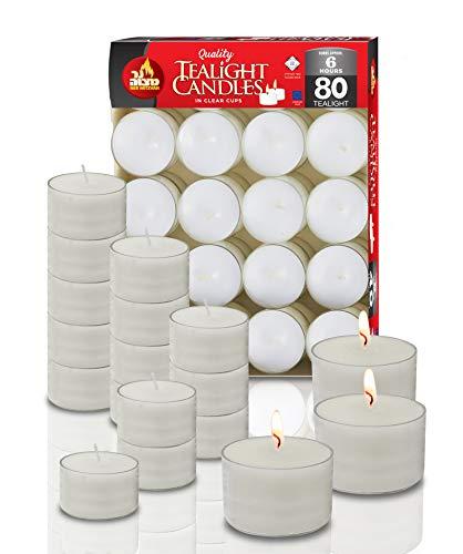Ner Mitzvah Teelichter Kunststoffhülle 80er Pack – 6 Stunden Brenndauer – Weiß – Unparfümiert – 80 Stück