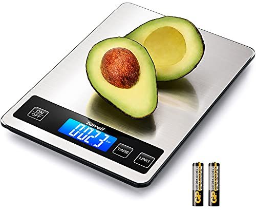 TICWELL Essential Food Scale 33lb Digital Kitchen Scale Weight Grams Oz for Cooking Baking Multifunction Food Scale 1gPrecise Graduation 5 Units LCD Display Screen Touch, Stainless Steel, Button