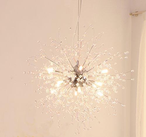 GDNS Chandeliers Firework LED Light Stainless Steel Crystal Pendant Lighting LED Globe Living Room