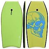 Goplus Tavola da Surf, Tavola da Nuoto e Surf con Board XPE e Fondo HDPE con Cinghia Nylon per Caviglie, Bodyboard da Surf per Mare Spiaggia Piscina per Ragazzi e Adulti (Verde)