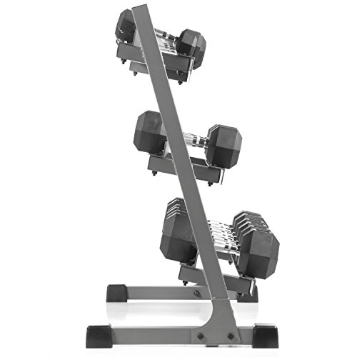 XMark 550 lb Dumbbell Set and Heavy Duty Dumbbell Rack, 5 to 50 lb Hex Dumbbell Set (10 Pair) with 3 Tier Storage Rack, Dumbbells and Dumbbell Storage Rack