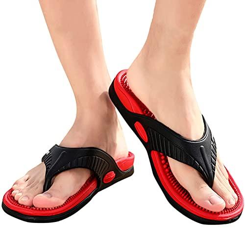 SXYRN Chanclas para Hombre, Sandalias de Dedo para Deportes al Aire Libre, Pantuflas de Playa Suaves y Antideslizantes, Viene con una Bolsa para Guardar Zapatos, Rojo, 42