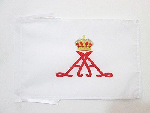 AZ FLAG Flagge STANDARTE des FÜRSTEN Albert II VON Monaco 45x30cm mit Kordel - FÜRSTENTUM Monaco Fahne 30 x 45 cm - flaggen Top Qualität