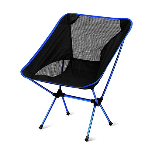 KKLL Cómoda Silla platillo Silla de Director de Camping portátil Silla de Luna Trasera Perezosa Ultra Ligera (Color : Navy Blue)