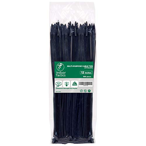Heavy Duty Premium Nylon Zip Ties 12' | Indoor/Outdoor Multi Purpose Industrial Grade Cable ties | Ultra Strong Durable Zip Ties (100 Pieces Black)