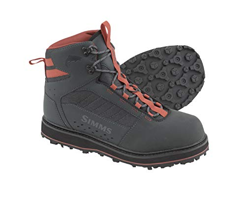 Simms Tributary Rubber Sole Wading Boots Adult, Rubber Bottom Fishing Boots, Carbon, 10