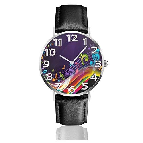Reloj de Pulsera Partituras Coloridas Correa de Cuero sintético Duradero Relojes de Negocios de Cuarzo Reloj de Pulsera Informal Unisex