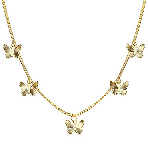 LKHJ Collar de Mariposa de Oro para Mujer Moda Estrella Gargantilla Collares joyería de Verano