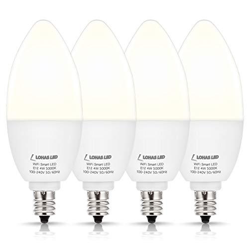 LOHAS Smart LED Bulbs, Candelabra Base E12 LED Bulb Dimmable Smart Daylight 50 Watt Equivalent, 5000K LED WiFi Bulb No Hub Required Work with Alexa Google Home for chandelier ceiling fan bulbs, 4 Pack