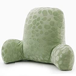 Green embossed plush reading pillow with arms for girls and boy kids.