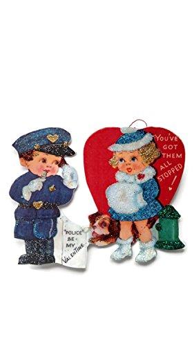 Valentine's Day Card Ornament Decoration Police Boy Girl Retro Handmade Holiday Gift