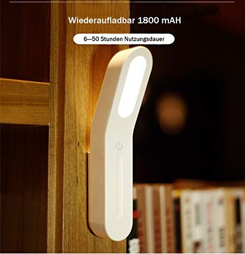 LED Mobile Klemmlampe Taschenlampe Wandlampe mit Magnet Augen Schutz Soft Licht - Akku Nachttisch Leselampe Dimmbar Micro USB Ladekabel - in Weiß [Energieklasse A++]