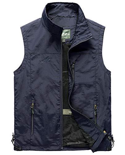 Hixiaohe Men's Casual Lightweight Outdoor Vest Work Fish Photo Travel Vest(Navy, XL)
