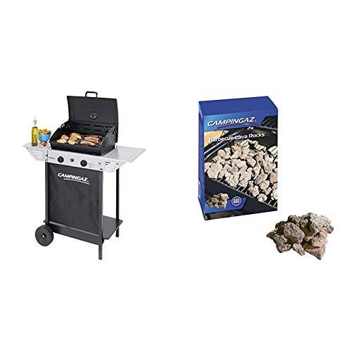 Campingaz Xpert 100 L Plus Rocky Barbacoa Gas para Piedra Volcanica, BBQ gas con 2 quemadores, 7.1kW de potencia, 2 Parrillas, 2 mesas laterales y rocas de lava & Campingaz - Piedras lava, 3 kg